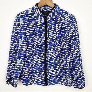 Carlisle Blue Black White Zip Up Blazer Size 10
